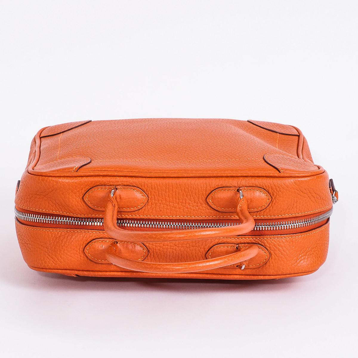 sac herm s omnibus cuir gr n orange d 39 occasion. Black Bedroom Furniture Sets. Home Design Ideas