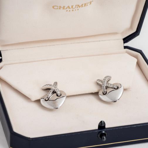 Boucles d'oreilles en or blanc 18k et diamants Coeur Lien Croisé G.M.