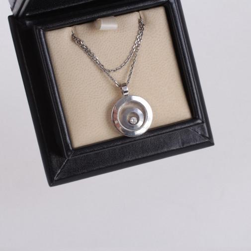 Pendentif et collier Happy Spirit or blanc 18k et diamant