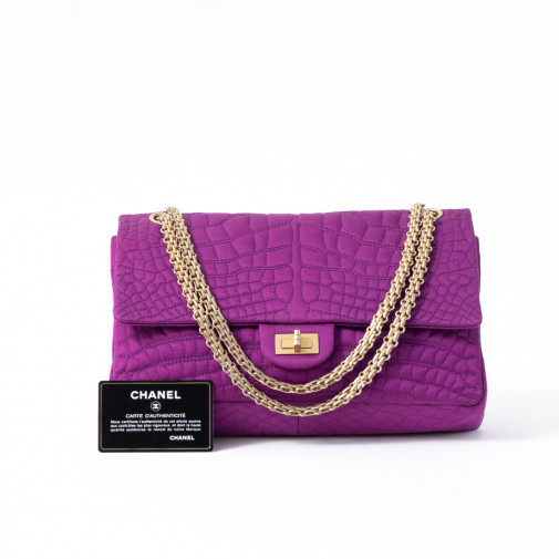 Sac à main 2.55 en satin de soie impression crocodile fuschia