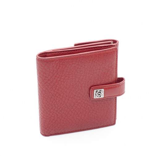 Portefeuille compact en cuir gréné rouge