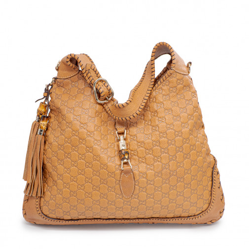 Sac New Jackie Guccissima Large shoulder bag cuir marron clair
