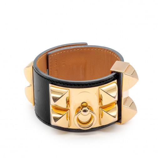 Bracelet Collier de Chien cuir noir et plaqué or rose
