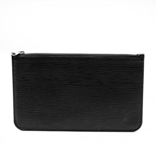Pochette Accessoires cuir épi noir