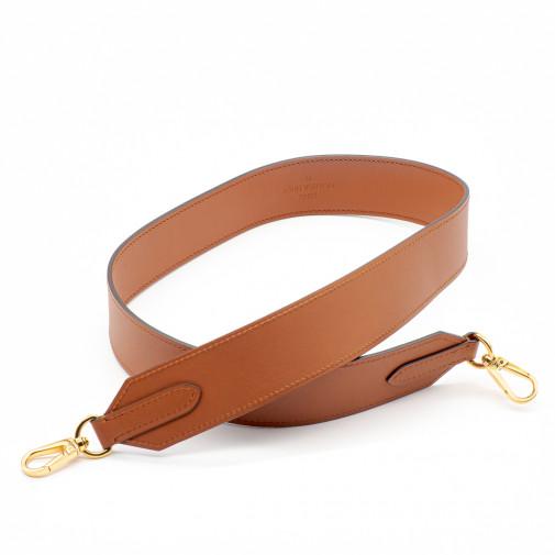 Bandoulière large en cuir marron