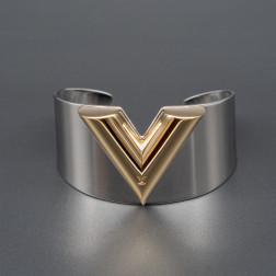 Manchette Essential V Cuff acier et plaqué or