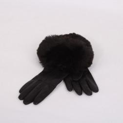 Paire de gants en cuir noir taille 6 1/2