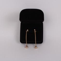 Paire de long pendants d'oreilles 3 ors 18k