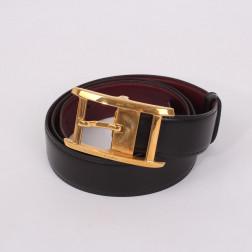 Boucle de ceinture et deux cuirs dont un en croco T.92