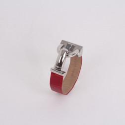 Montre Cadenas acier et bracelet crocodile rouge