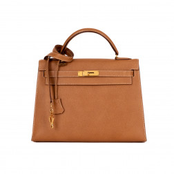Sac Kelly 32 Piqué Sellier en cuir Courchevel gold