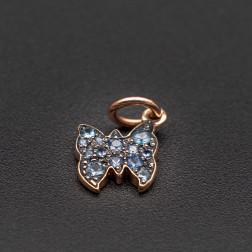 Charm DODO Papillon en or rose et serti de saphirs