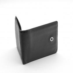 Porte-cartes et billets en cuir gréné noir.