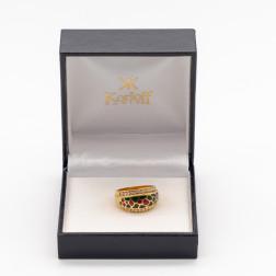 Bague en or jaune 18k 24 diamants et émail