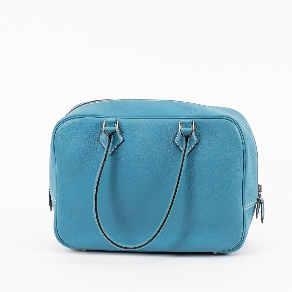 a9c3c965cc Hermès sac Plume moyen modèle cuir Epson bleu jean d'occasion.