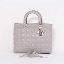 Sac Lady Dior Grand modèle cuir gris